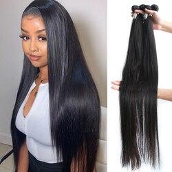 Пряди человеческих волос, бразильские прямые плетеные пряди волос, 30 32 34 36 38 дюймов, 3 4 пряди, натуральные волосы для наращивания, необработа...