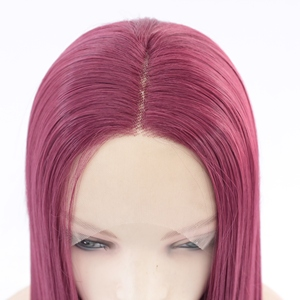 Image 5 - MRWIG Middle Part #2030 dark burgundy Long Straight Heat Resistant Fiber Glueless Wigs For Women Synthetic Lace Front Wig