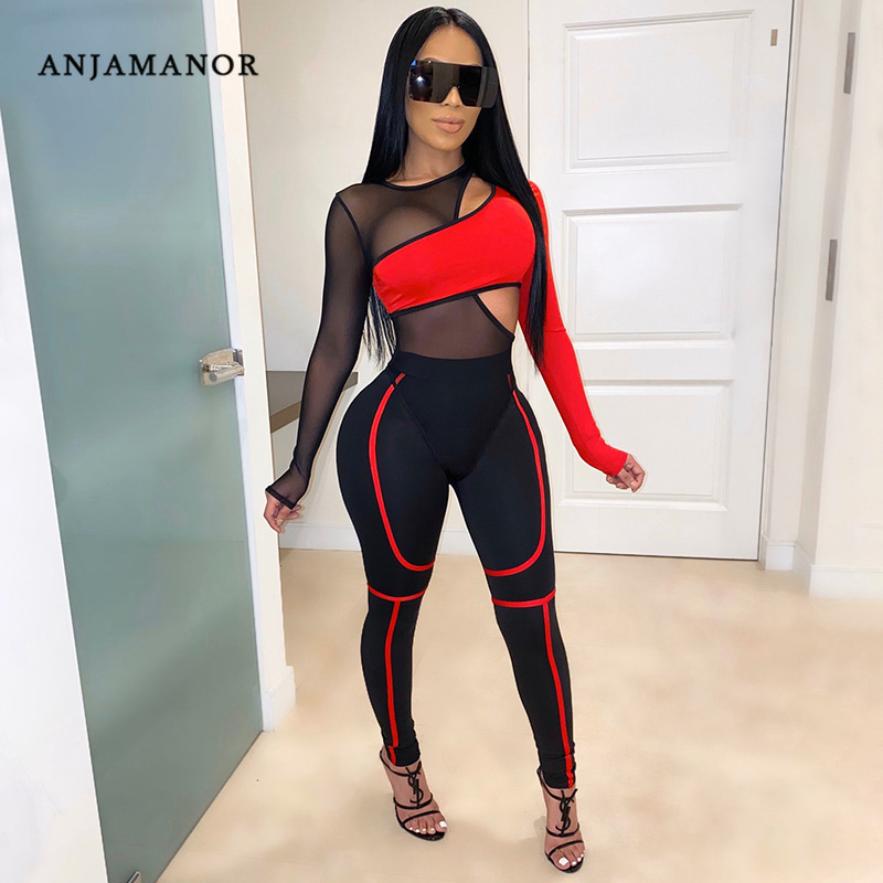 ANJAMANOR Sexy Two Piece Pant Set Hollow Out Sheer Mesh Spliced Bodysuit Leggings Matching Sets Women's Club Outfit D87-AE37