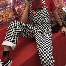 NIBESSER Ретро Уличная одежда в стиле хип-хоп комбинезон клетчатый комбинезон с принтом женский Харадзюку Свободный комбинезон карго Брюки