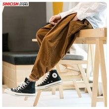 Sinicism магазин осенние бархатные Мужские удобные спортивные брюки японские повседневные хлопковые брюки мешковатые льняные однотонные шаровары