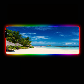 MRGBEST Sea Beach Scenery RGB Large Mouse Pad Oversize Glowing Led Extended Mousepad Non-Slip Base Computer Keyboard Pad Mat цена 2017
