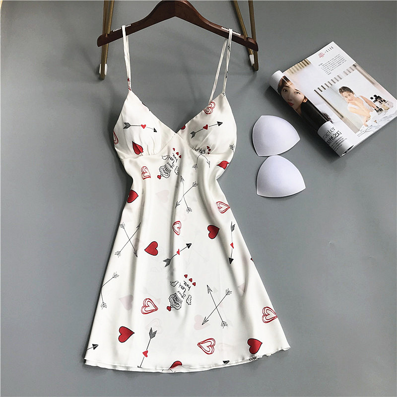 Printed Satin New Women Nightgown Sexy Sleepwear Sleeveless Pyjamas With Chest Pad Girl Short Nightdress