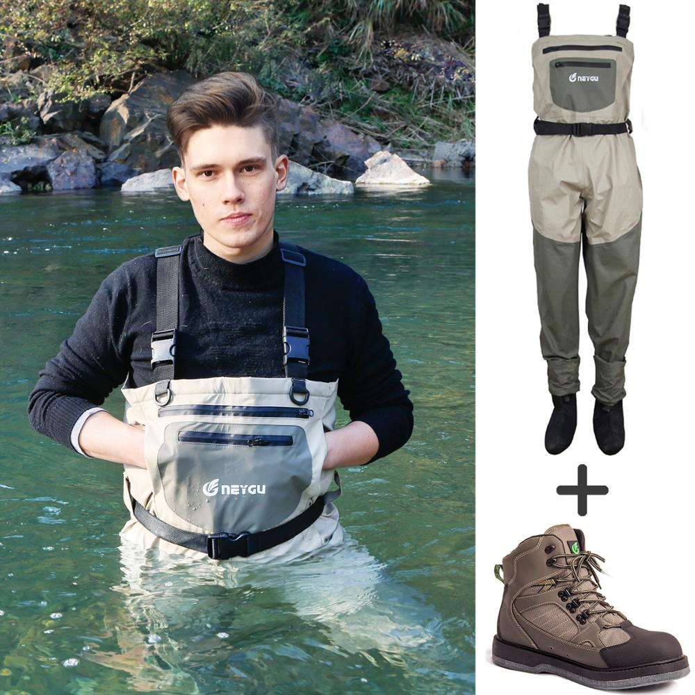 Waterproof fishing waders and felt sole shoes for woman with adjustable shoulder strap for hunting, boating and rafting