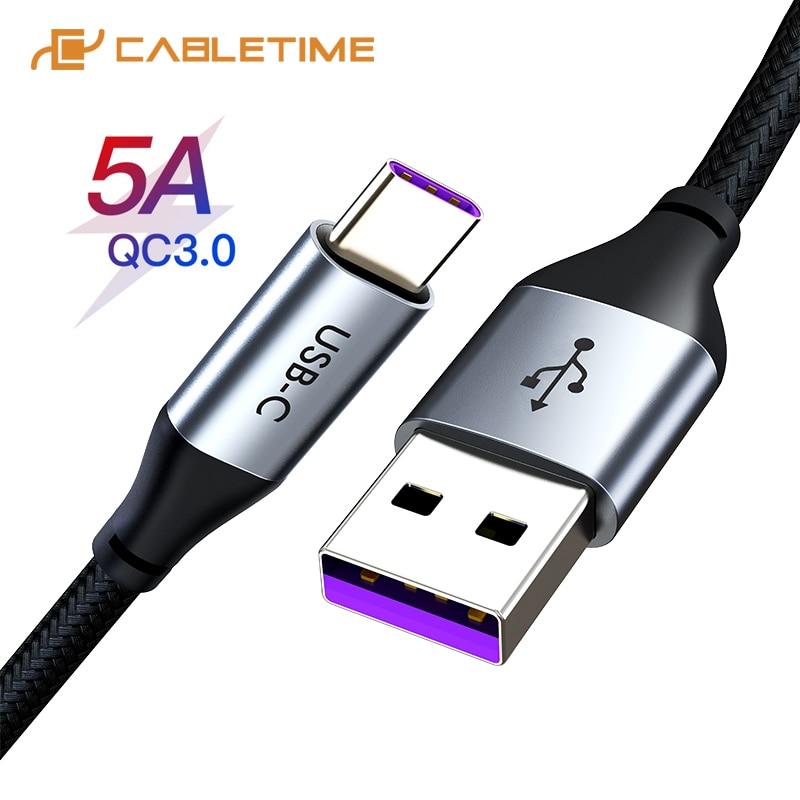 Cable de sobrealimentación CABLETIME 5A USB tipo C QC3.0 para Huawei Mate 30pro p30 carga rápida USB C Cable cargador para C199 6 V 5A AC 100-240V DC adaptador de corriente Universal 6V5A AC DC adaptador de 6 voltios adaptador de conmutación de la UE nos Reino Unido es cable de enchufe de 5,5mm * 2,1-2,5mm