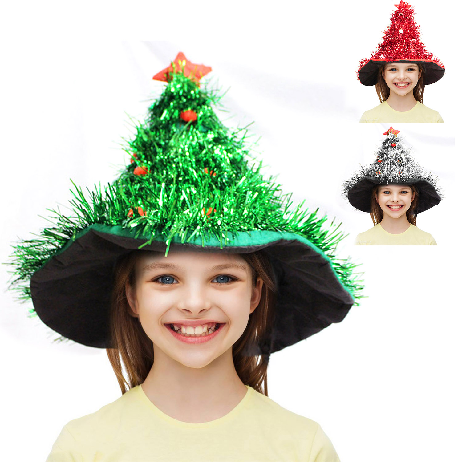 Funny Christmas Xmas Tree Hat Cap Headwear For Kids Adults Cosplay Masquerade Fancy Dress Party Costume Accessories