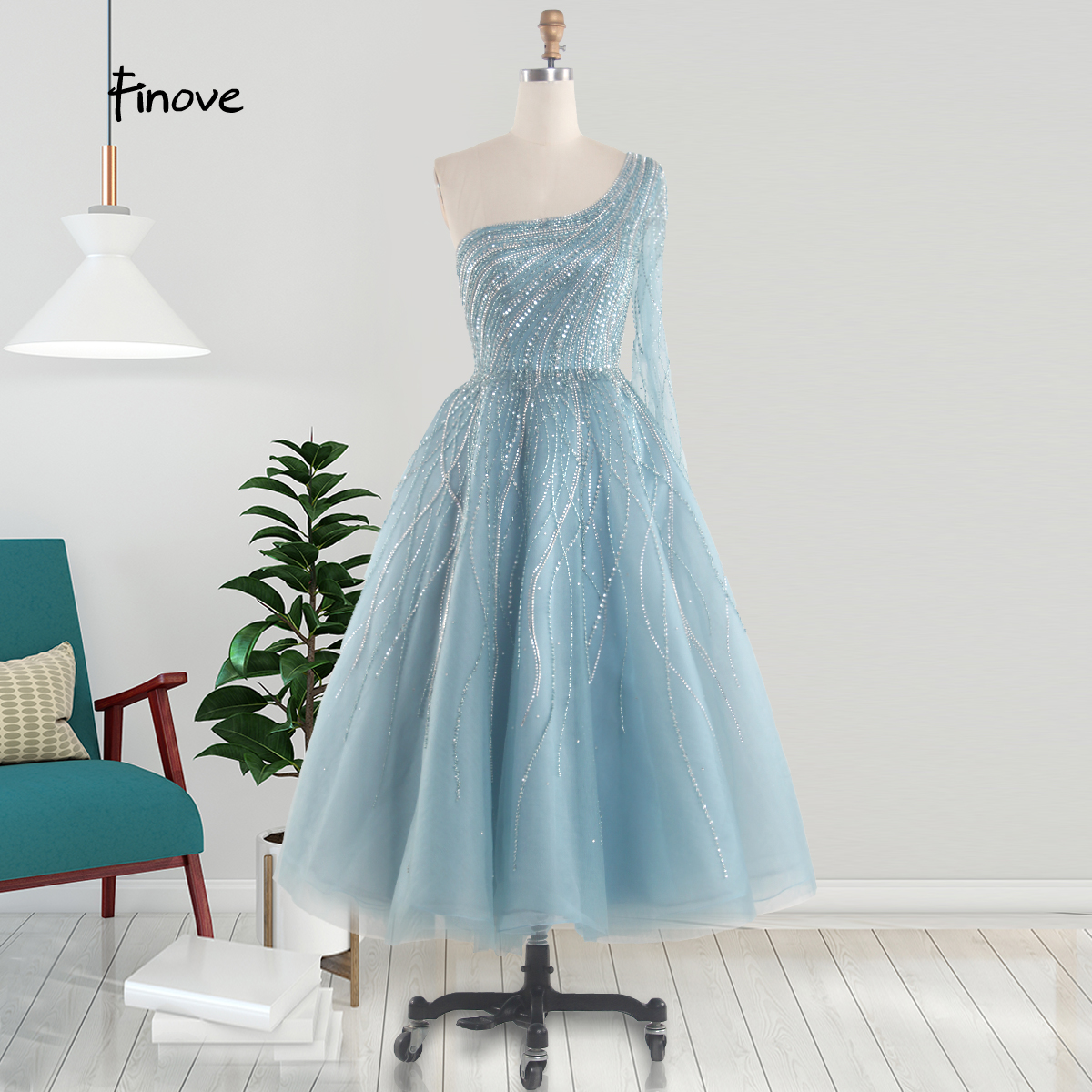 Short Prom Dresses Luxury Beading With Crystal Robe De Princesse Femme Elegant One Shoulder Long Sleeve Party Dress Gown