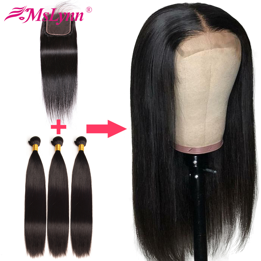 Straight Hair Bundles With Closure Can Be Customized Into A Wig 4x4 Closure Wig 300% Density Human Hair Bundle Mslynn Remy Hair