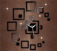 цена на DIY Creative Mirror Wall Clock Square Mirror Clock 3D Acrylic Living Room Wall Clock B069