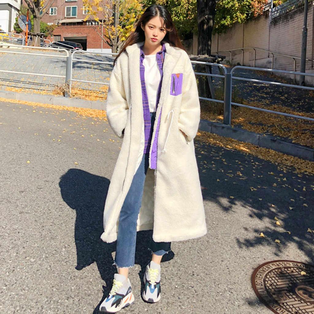 Abrigo de invierno de piel de ante de mujer 2019 Chaqueta larga de piel de oveja gruesa de moda abrigo de mujer sólido cálido gabardina # J30