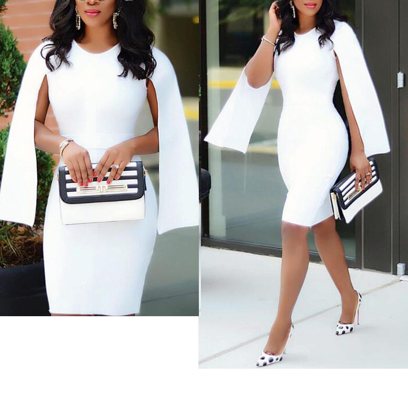 White Cocktail Dresses Knee Length Sexy Causal Lady Dress Gown Plus Size Formal Party Dress With Stretch In Stock ESAN246
