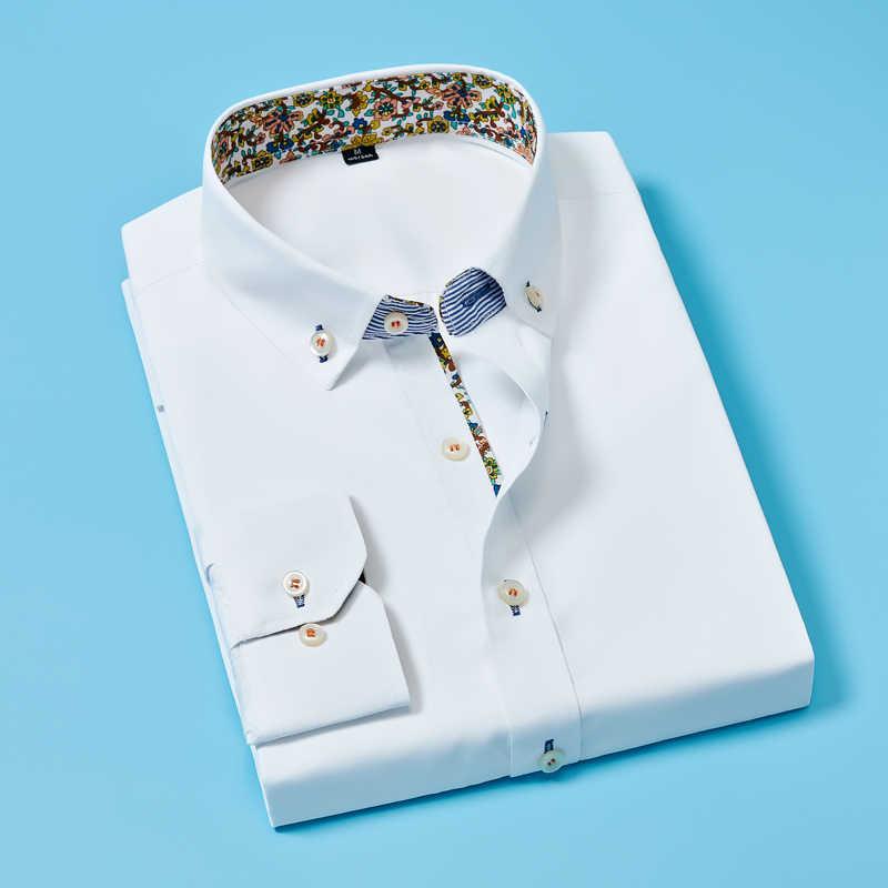 Camisas masculinas sólido fino ajuste algodão manga longa camisa masculina casual primavera outono camisas sociais vestido de negócios colarinho de flores quebrado