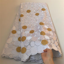 Швейцарская Кружевная Ткань 5 ярдов, новейшая африканская кружевная вышивка, 100% хлопчатобумажная ткань, швейцарская вуаль, кружево, популяр...