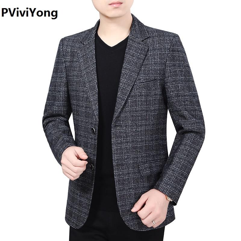 PViviYong 2019 New Fashion Men Slim High Quality Mature Lattic Blazer Jacket Two Button Lapel Casual Long Sleeve Pockets Top1922