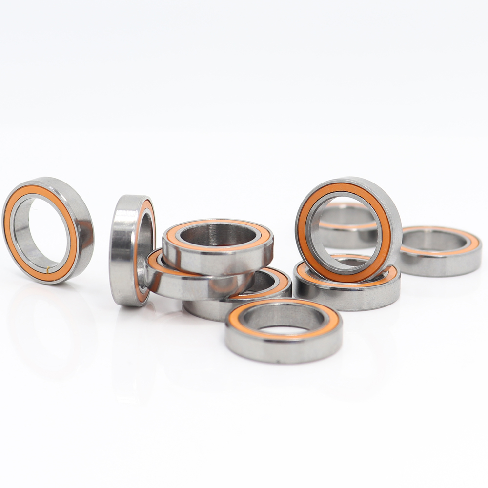 <font><b>6701RS</b></font> Bearing ABEC-3 (10PCS) 12x18x4 mm Thin Section 6701-2RS Ball Bearings 61701RS 6701 2RS With Orange Sealed image