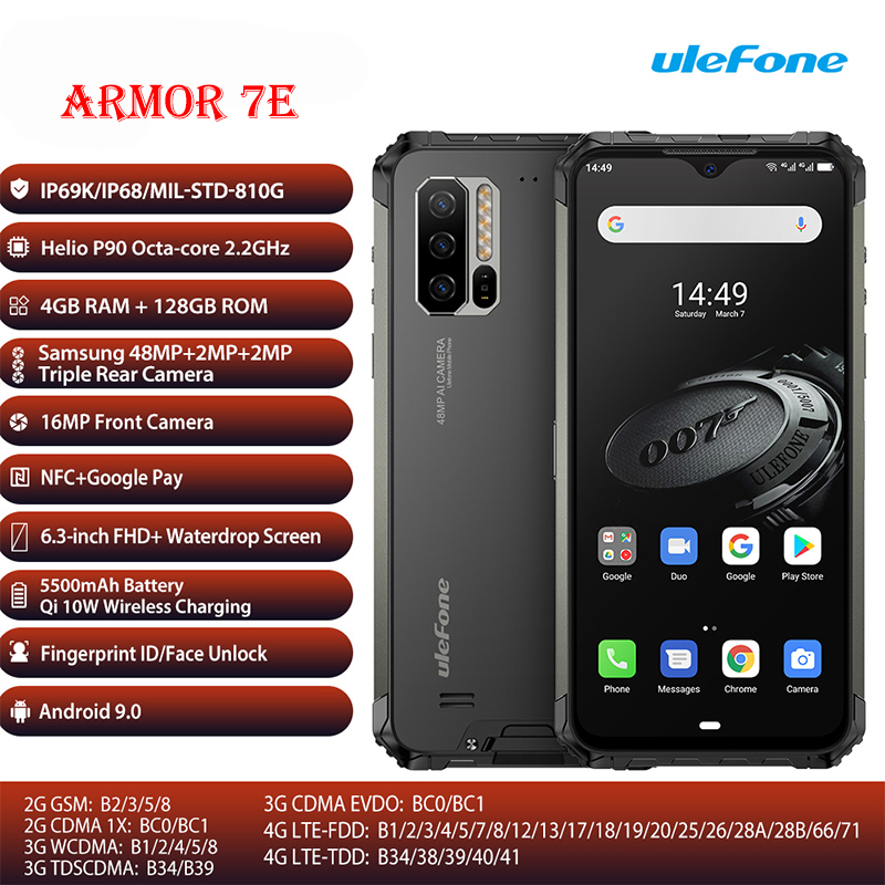 Ulefone Armor 7E Rugged Mobile Phone Helio P90+128G Smartphone 2.4G/5G WiFi Waterproof IP68 Global Version Android 9.0 NF