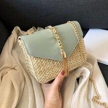 Fransen Kette Kleine Klappe Taschen Für Frauen 2021 Mode Stroh Umhängetaschen Damen Sommer Messenger Schulter Handtaschen