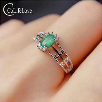 CoLife Jewelry 100% Natural Emerald Ring for Office Woman 4*6mm SI Grade Emerald Silver Ring Fashion Gift for Girl