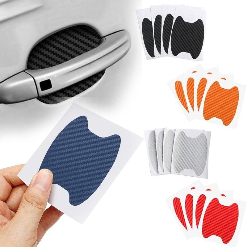 4 unids/set Puerta de coche pegatina fibra de carbono resistente a los arañazos cubierta de la manija del automóvil película de protección Exterior Accesorios de estilo