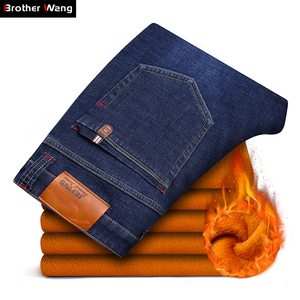 Image 1 - 2020 Winter New Brand Mens Warm Jeans Casual Stretch Slim Denim Pants Male Big Size Men Trousers 40 42 44 46 Black Blue