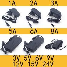 AC 110-240V DC 3V 5V 6V 9V 12V 15V 24V 0.5A 1A 2A 3A 5A 6A 8A 범용 전원 어댑터 공급 충전기 어댑터 Eu 미국 LED 조명