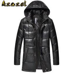 Men's Leather Jacket Winter Genuine Leather Jacket Men Hooded Long Sheepskin Coat Down Plus Size Chaqueta Cuero Hombre 15D113