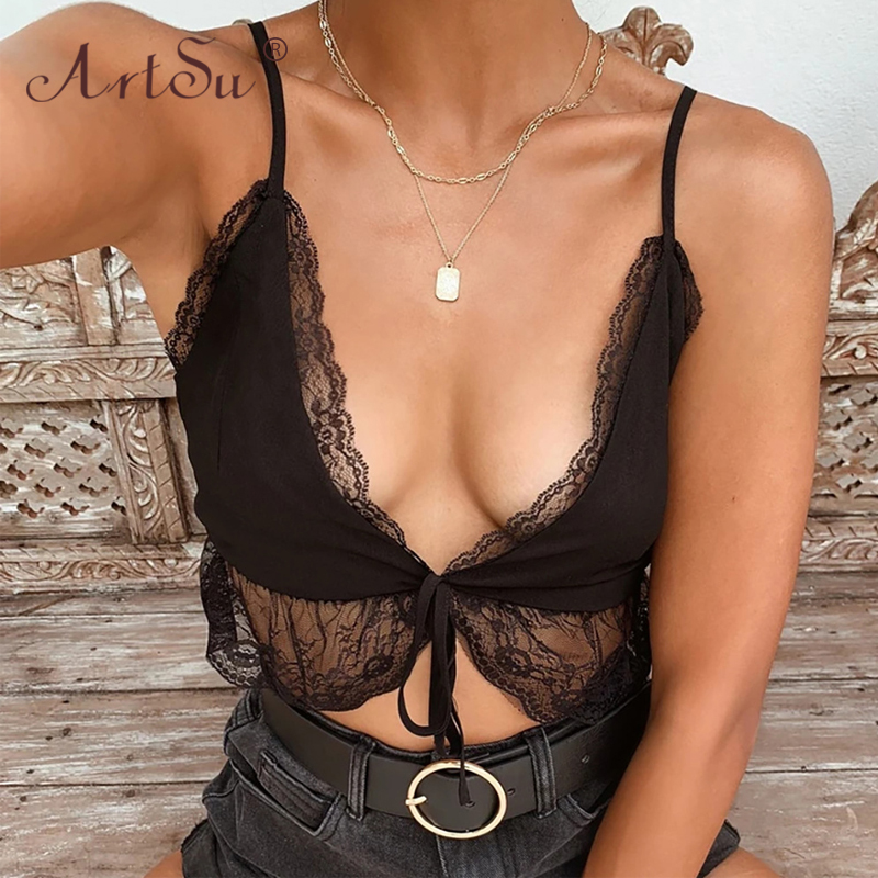 ArtSu Deep V Neck Lace Up Sexy Black Sleeveless Crop Top Women White Lace Tank Top Camis Tops Summer Camisole Clubwear 2020 1