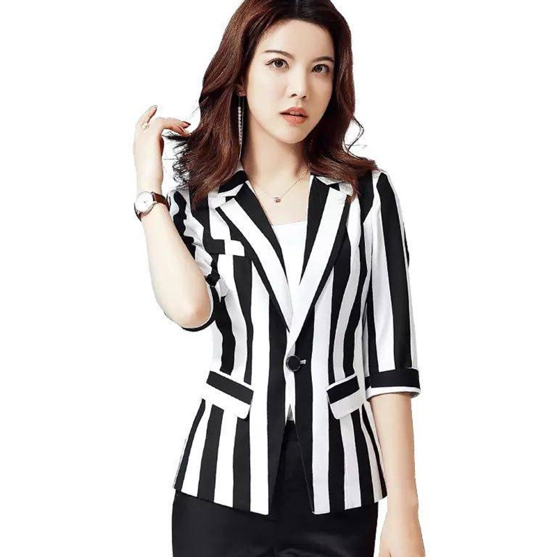 2019 New Fashion Spring  Summer Suit Edition Temperament Leisure Stripe  Sweet Wind Tide Female Professional Suit Coat