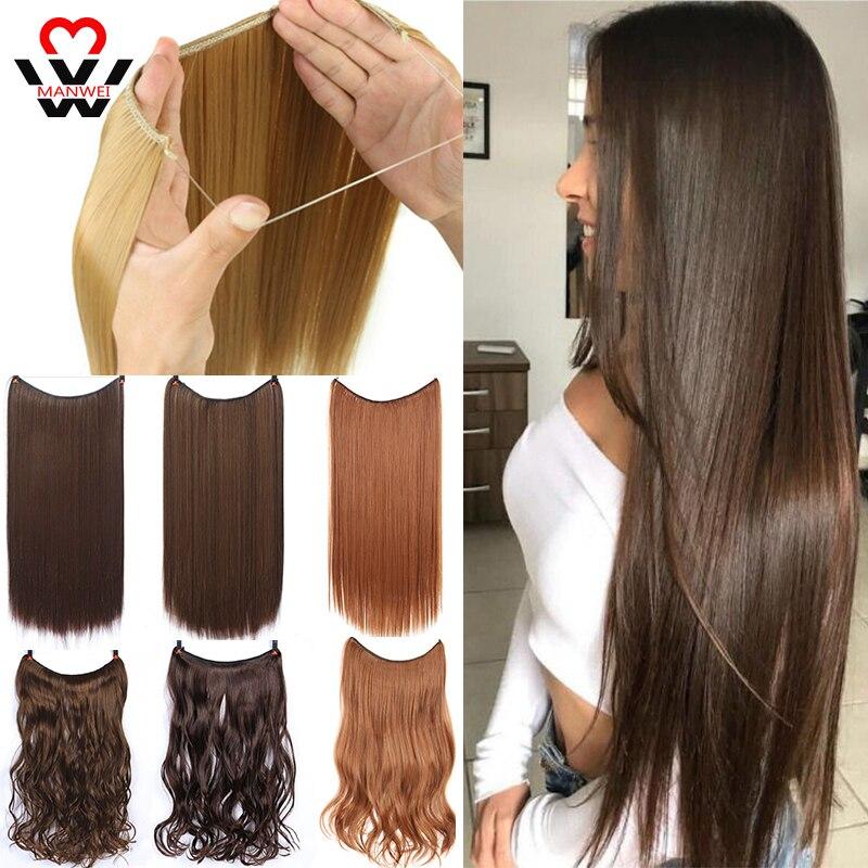 MANWEI24 дюймов натуральных волос невидимая проволока в Синтетические пряди для наращивания волос без зажима с Secrect линии легко прикрепить вол...