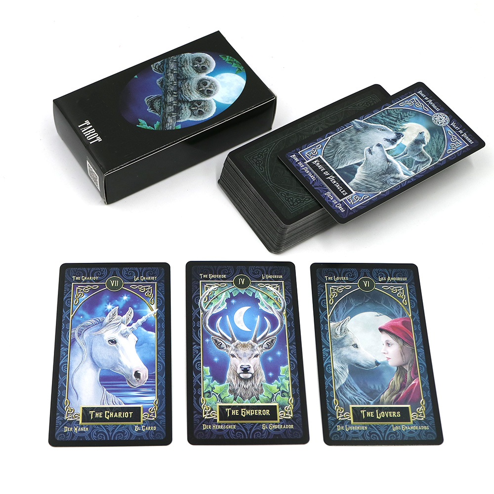 2019 Familiars Tarot Cards Deck English Spanish French German Version Mysterious Animal Magic Divination Cards Game