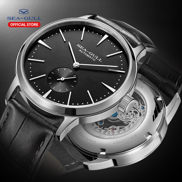 Seagull Business Watches Mens Mechanical Wristwatches 50m Waterproof Leather Valentine Male Watches 519.12.6075