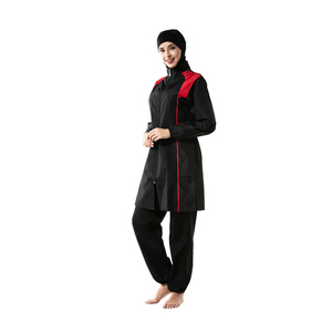 Image 2 - YONGSEN Mulheres Muçulmanos Swimwear Calças Encapuzados Burkinis Maiô Terno Esporte Moda Islâmica Hijab Três peça Elegante Beachwear
