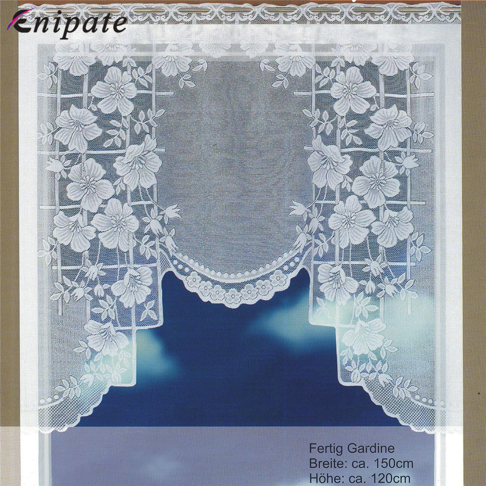 Enipate European White Translucent Coffee Curtain Warp Knitted Curtains Kitchen Tulle Lace Sheer Jacquard Curtains 150x120cm