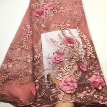 Tela de encaje africano 2020, encaje de alta calidad con cuentas/telas de encaje nigeriano, tela de encaje de tul francés 3d para vestido de mujer M2845