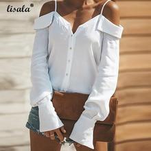 купить LISALA Women V Neck Blouses cold shoulder Lantern Sleeve Solid Sling Blouse Fashion Button Shirt Plus Size Tops Blusas 2XL дешево