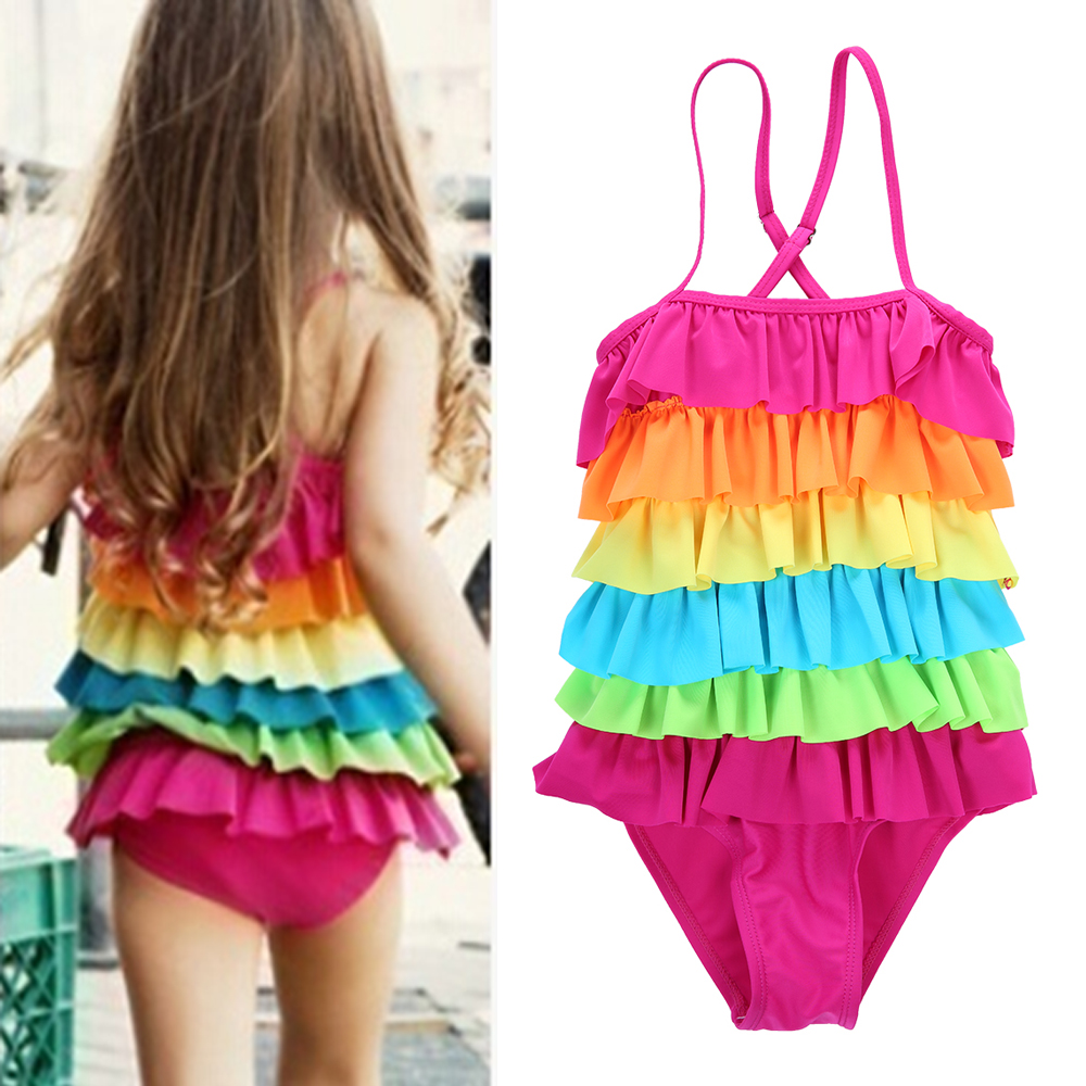 Children Kids Girls Bikini Beach Rainbow Stripe Straps One Piece Swimsuit Retro Baby Swimsuit