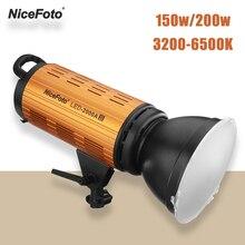 NiceFoto LED 1500AII 2000AII 150 واط 200 واط مصباح ليد مصباح 3200 6500 كيلو ضوء النهار إضاءة الاستوديو الفيديو مع شاشة الكريستال السائل APP التحكم