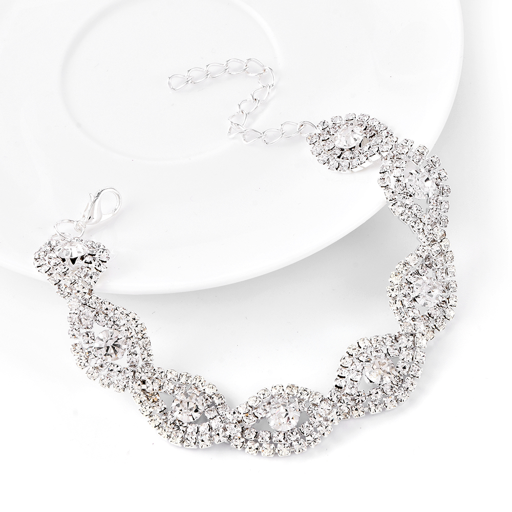 New Fahison Elegant Bright Women Lady Rhinestone Crystal Metal Chain Bracelet Bangle Wedding Jewelry Christmas Gift