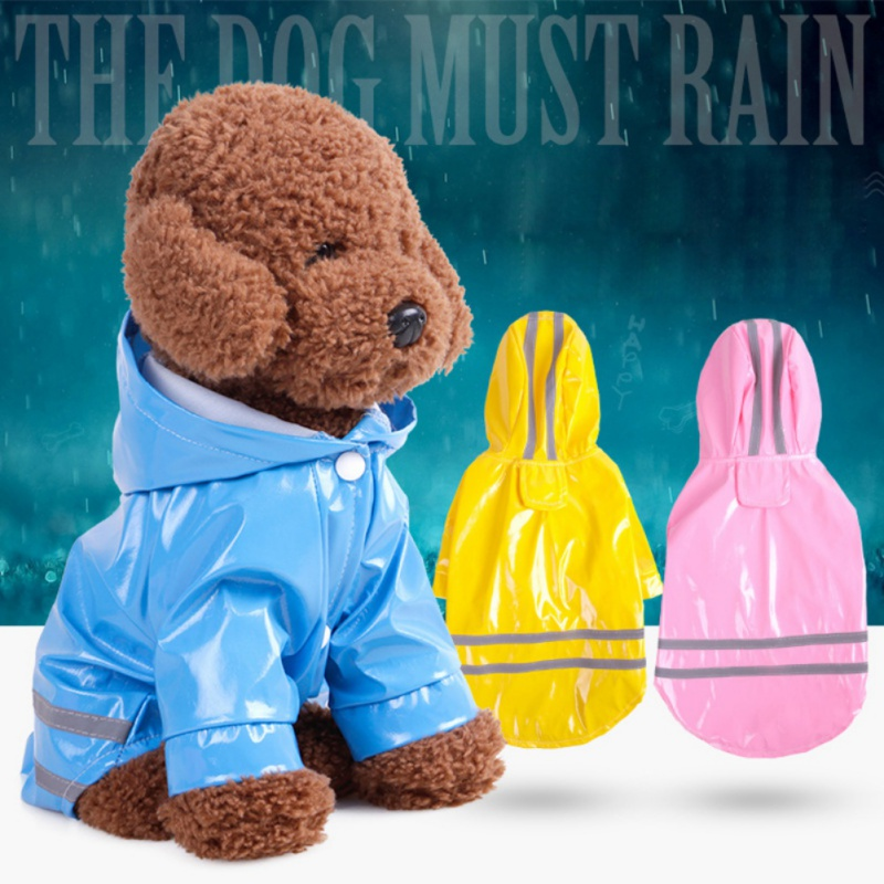 Dog Raincoat For Small Dogs PU Pure Color Anti-wet Hooded Reflective Pet Clothes Pets Rain Coat Slicker Waterproof Slicker