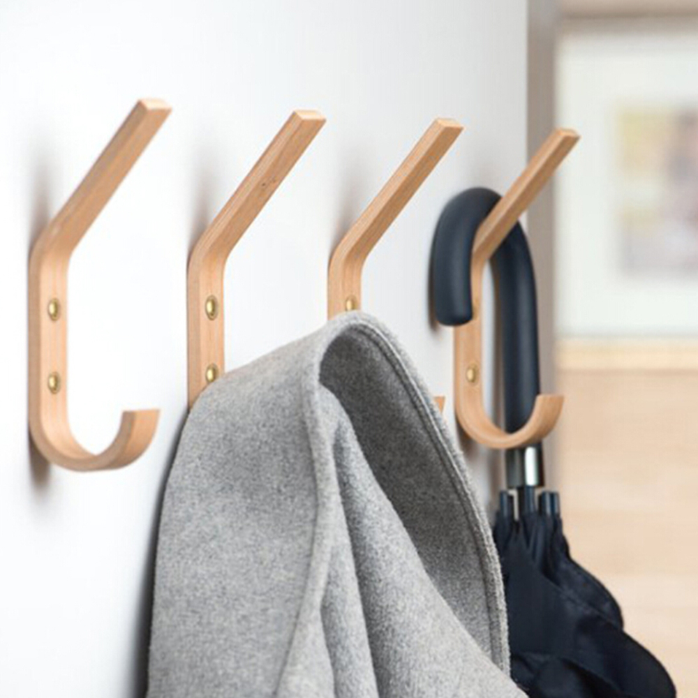 Multi Functional Hooks Wooden Towel Coat Hook Wall Hooks Towel Rack Hangers