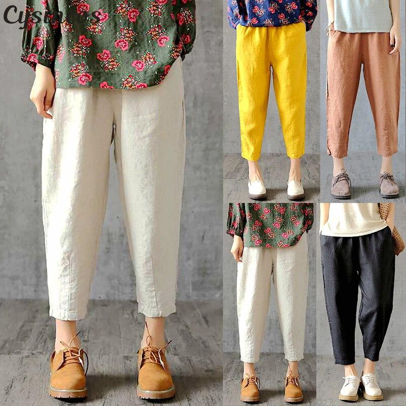 Women Linen Pants Plus Size 2019 Summer Pant Capris Loose Thin Fabric Linen Cotton Pant Solid Color Harem Pants Women