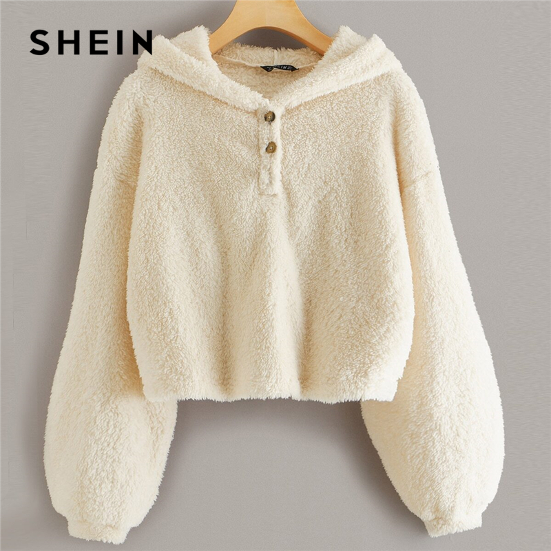 SHEIN Beige Button Front Drop Shoulder Teddy Hoodie Women Tops Winter Autumn Long Sleeve Solid Basic Casual Sweatshirts