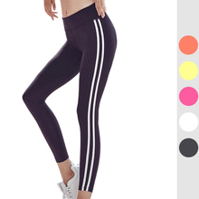 цена на Classic Fitness Pants Women's Trousers Spring Summer Running Pants Hit Color Stripes Thin Yoga Sports Tights Women's Peach Pants