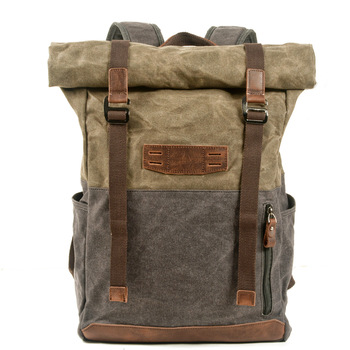 Casual canvas backpack, outdoor hiking and mountaineering roll top design, extended large capacity bag
