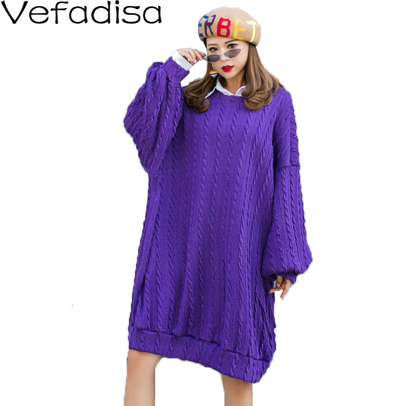 Vefadisa hiver tricoté robe pull femme pulls robe pull col rond pull décontracté unie violet 2019 QYF678
