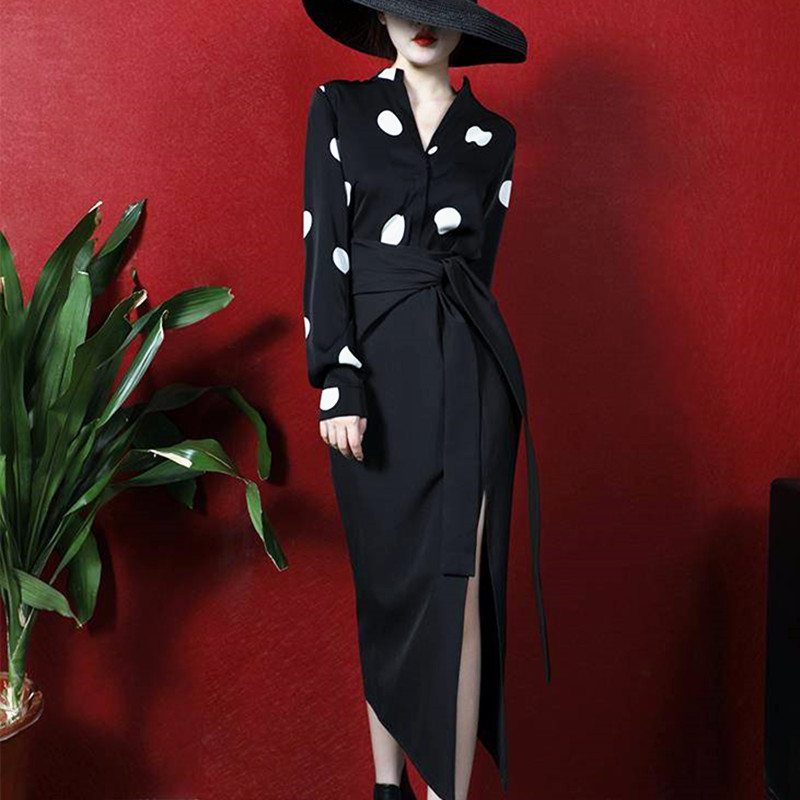 Designer Business Suit Set Women Spring Long Sleeve Polka Dots Print Shirts Blouse Tops Sexy Cut Bows Skirt Suits Set NS677
