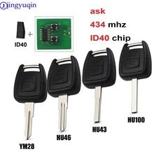 jingyuqin 2B Remote Key FOB DELPHI ID40 Chip For Vauxhall Opel Astra Vectra Zafira ASK 433.92MHz Uncut HU43/HU100/YM28/HU46 Blad