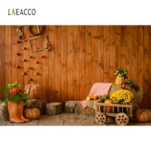 Laeacco Autumn Wooden Board Pumpkin Haystack Harvest Photography Backgrounds Customized Photographic Backdrops For Photo Studio