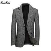 BOLUBAO, новинка, мужские однотонные блейзеры, модный бренд, мужские роскошные деловые костюмы, зимние шерстяные повседневные блейзеры, мужски...