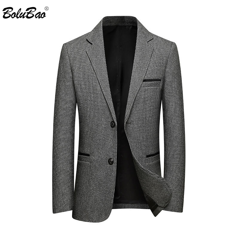 BOLUBAO New Men Solid Color Blazers Fashion Brand Men's Luxurious Business Suits Winter Woolen Casual Blazer Coats Male